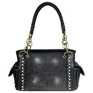 Western Aztec Collection Handbag Grey with Dark Grey w// Concho and Fringe